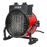 STIER Keramik Heizlüfter 3,0 kW, IP44, leise, stufenlos, Heizstrahler, Heizer,